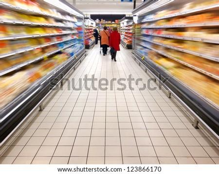 Supermarket. Motion blur. Trade.