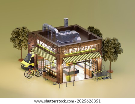 Supermarket or grocery building with interior. Supermarket trolley carts, shelves with products, cashier desk and delivery van unloading goods. 3d illustration
