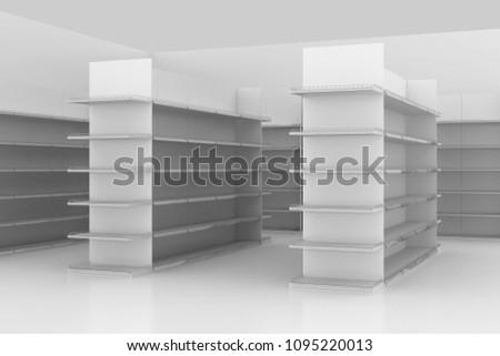 supermarket shelves aisle 3D