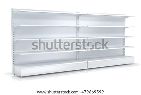 Supermarket shelves. 3d illustration. Isolated on white