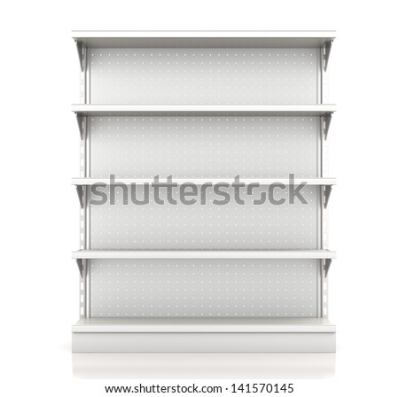 Shutterstock supermarket shelves render from front on white. 3d