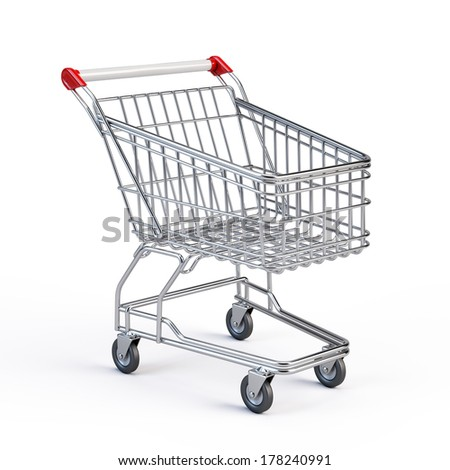 Supermarket shopping cart isolated on white