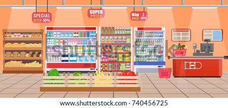 Supermarket store interior with goods. Big shopping mall. Interior store inside. Checkout counter, grocery, drinks, food, fruits, dairy products. illustration in flat style Raster version