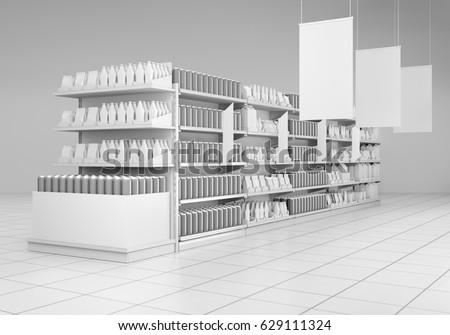 supermarket with hangers. 3D rendering