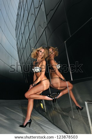 Supermodel posing sexy in front of modern metallic wall background