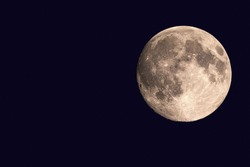 Supermoon. Full moon. A huge moon. Close-up of the moon. The moon in the sky