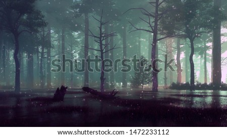 Supernatural fairy firefly lights soaring in the foggy air over spooky forest swamp at dark night or dusk. Fantasy 3D illustration from my own 3D rendering file. Stock photo ©