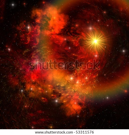 SUPERNOVA - A huge star explodes sending out shock waves throughout the universe.