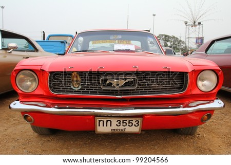 "SUPHANBURI, THAILAND - MARCH 31: old Ford classic car exhibited at the annual motor show ""American Car Carnival"" on March 31, 2012 in Suphanburi, Thailand."