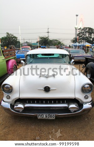 "SUPHANBURI, THAILAND - MARCH 31: Oldsmobile Antique Model exhibited at the annual motor show ""American Car Carnival"" on March 31, 2012 in Suphanburi, Thailand."