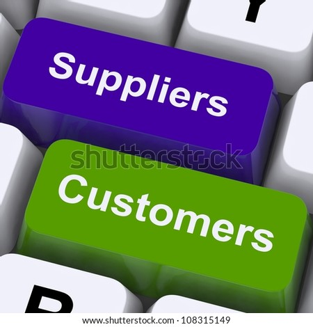Suppliers And Customers Keys Showing Supply Chain Or Distribution - stock photo