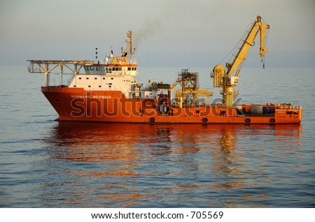 Supply and emergency boat for offshore oil rigs