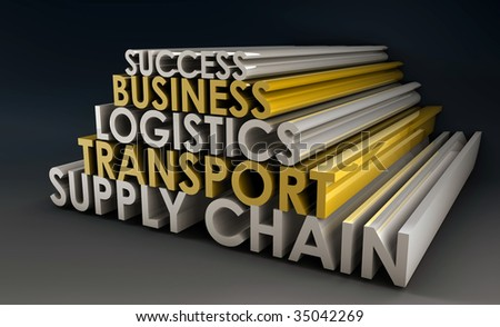Supply Chain Business Logistics in 3d Focus - stock photo
