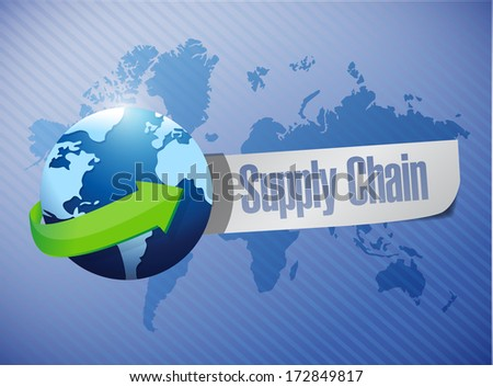 supply chain globe message over a world map illustration design
