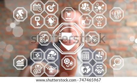 Supply Chain Management and Distribution. Fast Global Shipping Delivery Service. Logistics Business concept. Businessman presses place truck button on a virtual touchscreen. #747465967