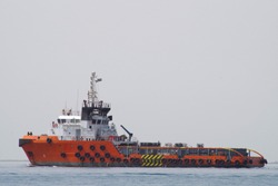 Supply vessel en route to next offshore field for cargo delivery.