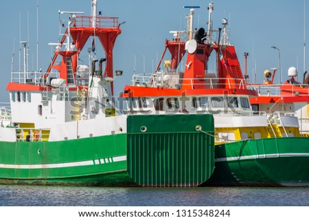 Supply vessels for offshore activities at North sea in harbor Lauwersoog, the Netherlands #1315348244