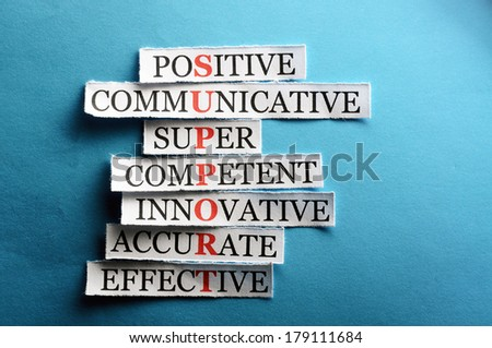 support  acronym  in business concept, words on cut paper hard light