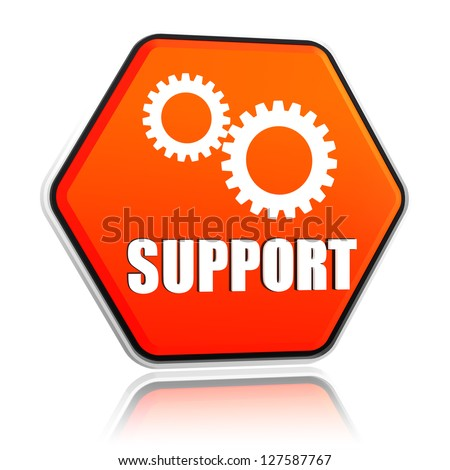 support and gears sign - 3d orange hexagon button with text and symbol
