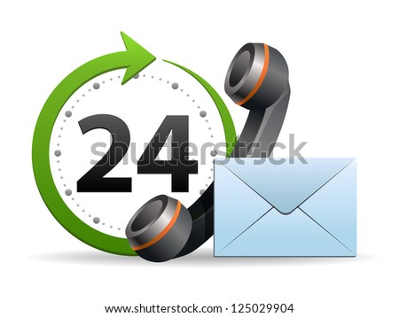 Support and service - around the clock or 24 hours a day icon isolated on white background