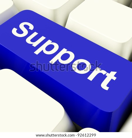 Support Computer Key In Blue Showing Help And Guidance
