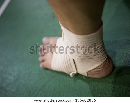 Support for ankle injury on a sport field