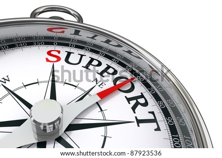 support indicated by concept compass on white background
