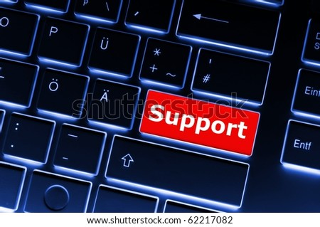 support key on keyboard showing contact us or service concept