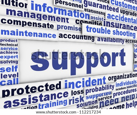 Support message background. Customer help poster design - stock photo
