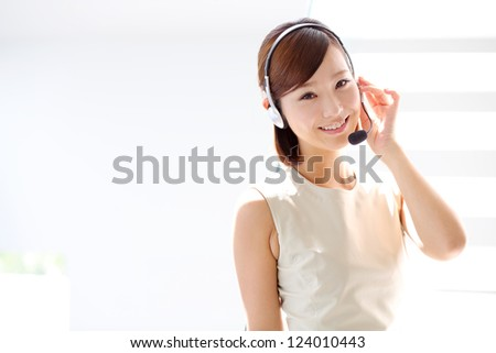 Support phone operator in headset at workplace