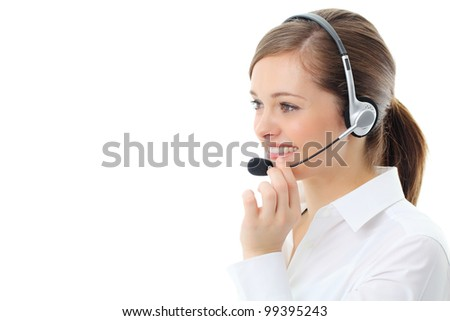Support phone operator in headset, isolated on white - stock photo