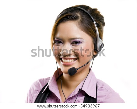 Support phone operator in headset isolated over white background