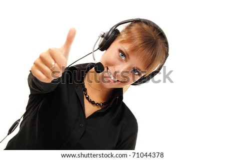 Support phone operator thumb up in headset isolated on white background