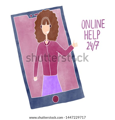Support phone operator. Woman operator online help 24/7. Customer service icon - call center agent