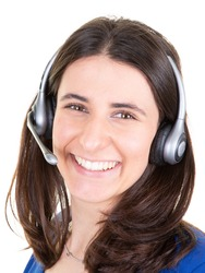 Support phone operator young pretty woman in headset callcenter in white background
