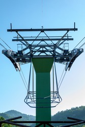 Support pylon for the aerial tramway that connects the Ober Gatlinburg Ski Area and Amusement Park with downtown Gatlinburg, Tennessee, USA.