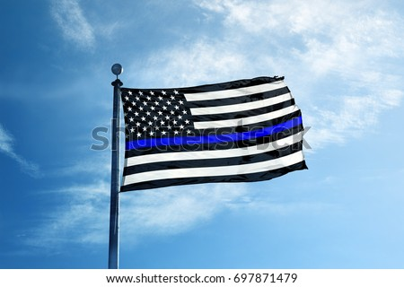 Support the Police Thin Blue Line American Flag on the mast