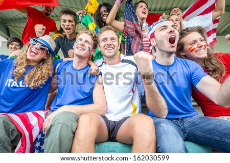 Supporters from Multiple Countries at Stadium All Together stock photo