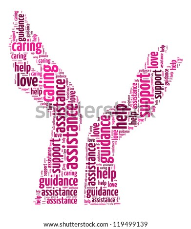 Supporting hands info-colorful text graphic and arrangement concept on white background (word cloud)
