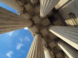 Supreme Court Columns in historic Washington DC.