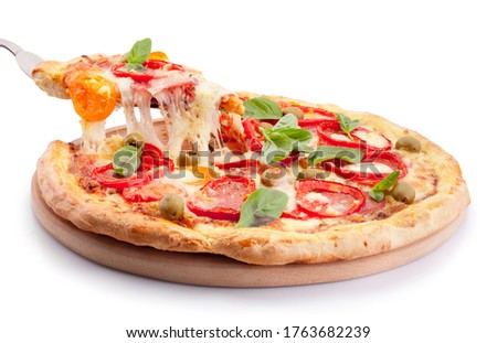 Supreme slice pizza with melted cheese isolated on a white background Foto stock ©