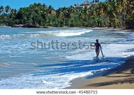Surf and girl - stock photo