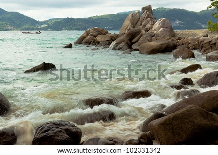 Surf and rocky shore