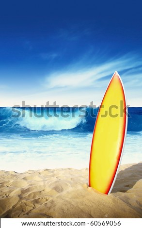 Surf board in the sand - stock photo