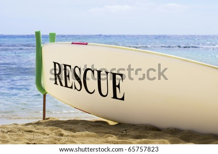 Surf Board Safety Concept on Hawaiian Sandy Beach