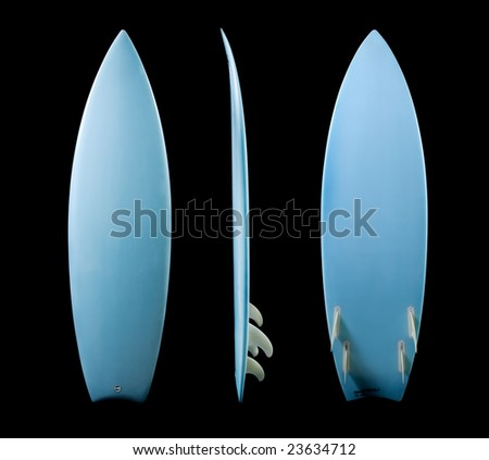 Surf Board Studio Image, 3 Angles of One Blue Surfboard on black