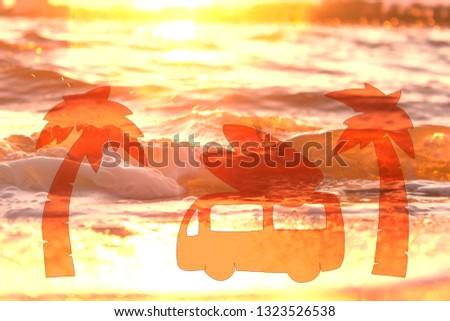 surf car on the beach against sunset sky #1323526538