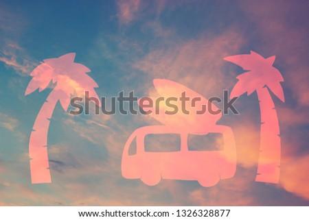 surf car on the beach against sunset sky #1326328877