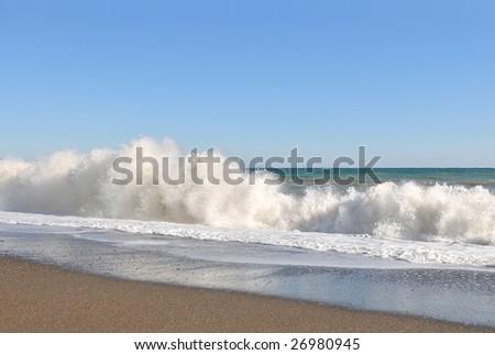 Surf on the bank of Black sea near to Alushta.