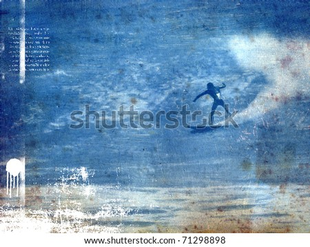 surf poster with surfer in wave with old paper texture